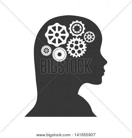 cog gear head woman machine part technology icon. Isolated and flat illustration. Vector graphic