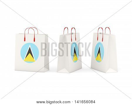 Flag Of Saint Lucia On Shopping Bags