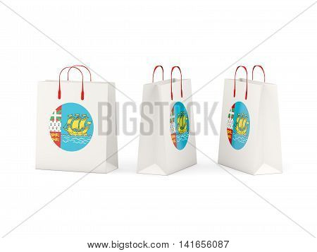 Flag Of Saint Pierre And Miquelon On Shopping Bags