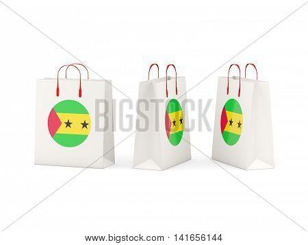 Flag Of Sao Tome And Principe On Shopping Bags