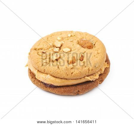 Peanut butter homemade cookie isolated over the white background