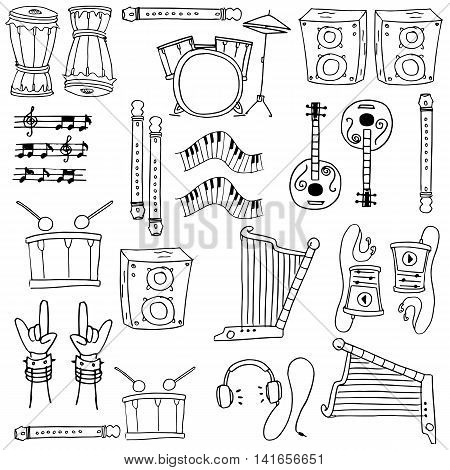 Music element doodles stock collection vector art