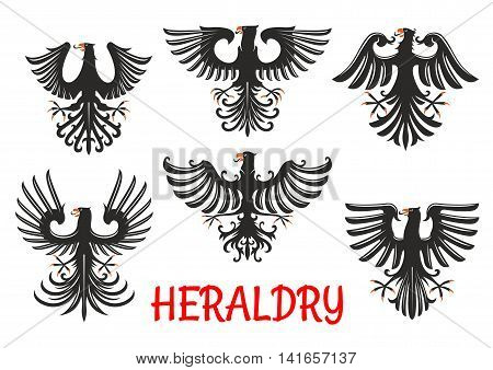 Black eagles heraldic birds of prey with raised and outstretched wings with pointed upward feathers. Coat of arms and heraldic emblem design