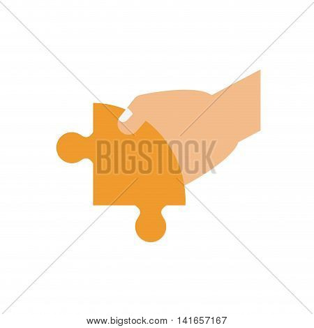 hand, puzzle jigsaw game figure icon. Isolated and flat illustration. Vector graphic