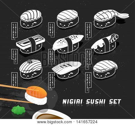 Vector illustration set of nigiri sushi in sketch style. Japanese food cover for menu. Printable art, chalkboard effect. Creative food print for card and poster.