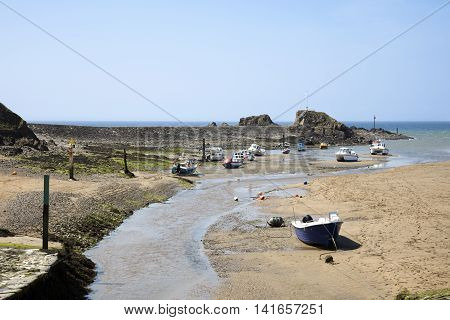 The harbor and sandy beach at Bude north Cornwall England at low tide