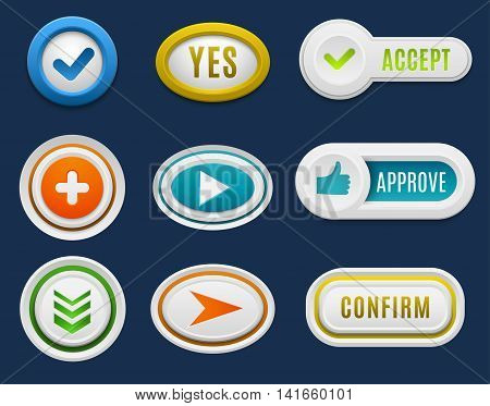 Set of interface buttons ok, cancel, yes, no. Vector internet web buttons set. Website accept web ui ux buttons iconsconcept. Web elements