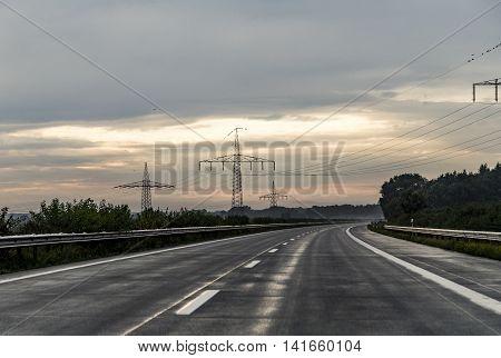 Highway A7 In Heavy Rain Seen Through Windshield
