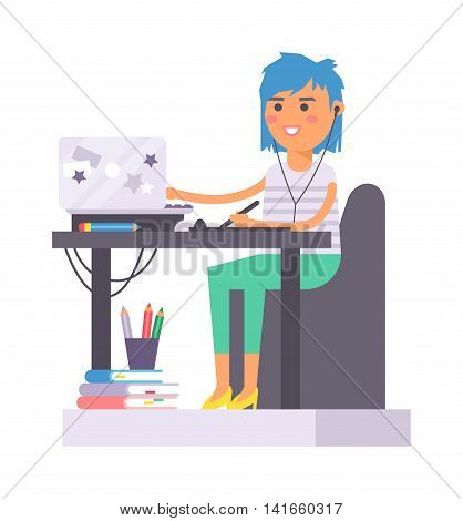 Young designer creative girl designer artist during pain work. Portrait drawing designer artist woman creative people vector. Colorful adult painter artist girl designer creative people with paintbrush.
