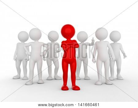 Confident team leader concept. Toon man with his army of people. 3D illustration