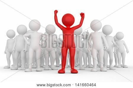 Successful team leader concept. Toon man with his army of people. 3D illustration