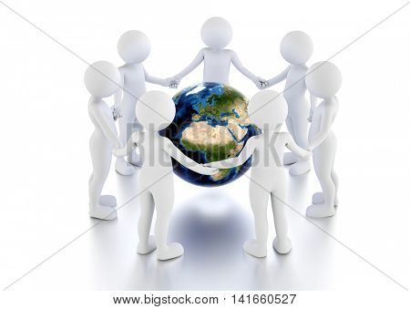 Save the earth concept. Toon men protect the globe in a circle. 3D illustration