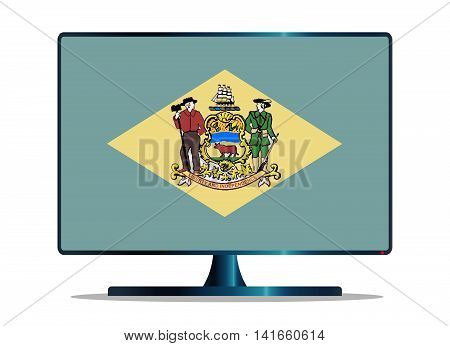 A TV or computer screen with the Delaware state flag