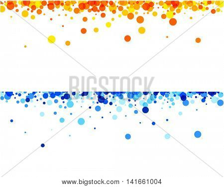 White paper banners with blue and orange drops. Vector illustration.