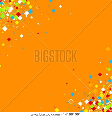 Orange background with color rhombs. Vector paper illustration.