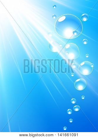 Blue water background with bubbles and sunlight. Vector illustration.