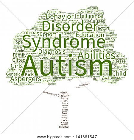 Concept conceptual childhood autism syndrome symptoms or disorder abstract tree word cloud isolated on background