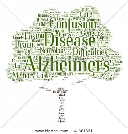 Concept conceptual Alzheimer`s disease symptoms abstract tree word cloud isolated on background