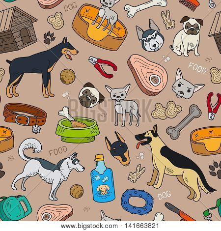 Seamless pattern with cute dog and pet accessories. Vector illustration