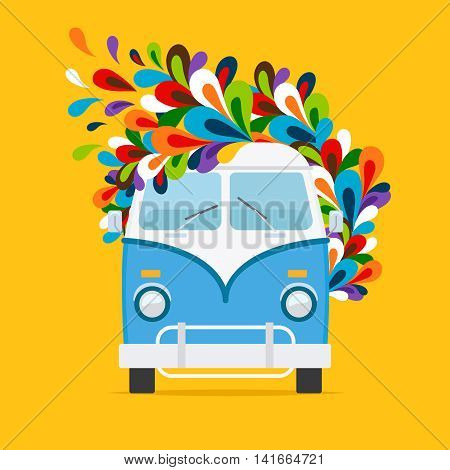Blue van. Hippie flowers bus for travel on yellow background. Vector illustration