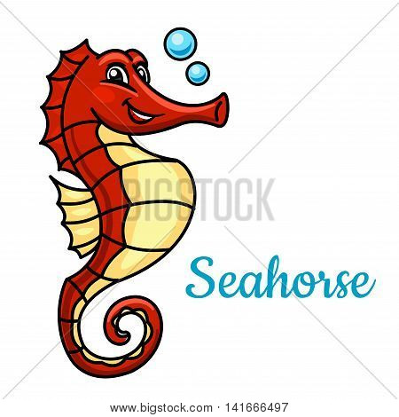 Tropical marine seahorse fish cartoon character. Use as zoo aquarium mascot or t-shirt print design