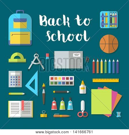 Back to school flat contour design modern vector illustration with education icon set. School isolated supplies: book, album, pencil, paint, pen, brush, ruler, scissors, etc.