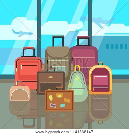 Vacation travelling concept with travel bags vector flat background. Set of bags in airport, illustration of color bags for travel