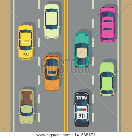 Highway traffic with top view cars and trucks street vector. Traffic with police car and taxi, illustration view to traffic road with transport