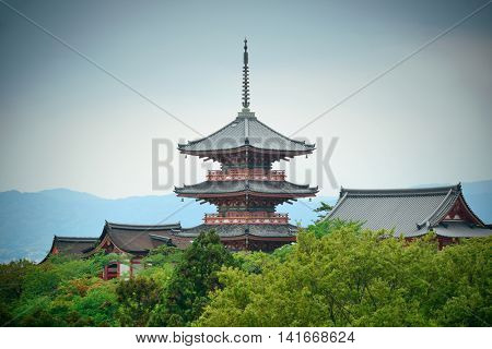 Pagoda tower in Jishu Jinja Shrine in Kyoto, Japan.