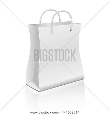 Empty paper shopping bag isolated on white. Vector template bag for advertising and branding. Illustration of paper bag with handle