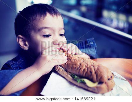 Boy Child Kid Bread Sandwich Eating