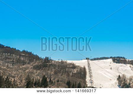 Mountain with ski
