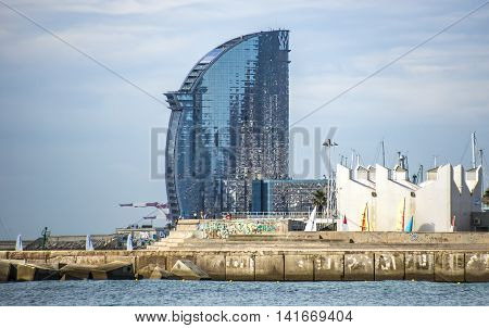 BARCELONA SPAIN - JULY 13 2016: W Barcelona Hotel known as the Hotel Vela (Sail Hotel) designed by Architect Ricardo Bofill. Located on the new entrance of Barcelona's Port.