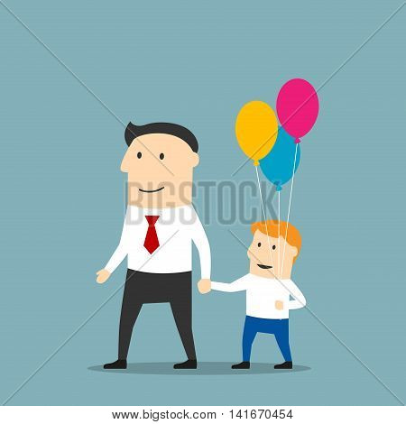Cheerful father and son with bundle of balloons walking holding hands. Father day concept or weekend leisure activity theme design. Cartoon style