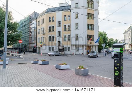 Moscow. Russia - July 07. 2016: Square in front of the Spanish Embassy