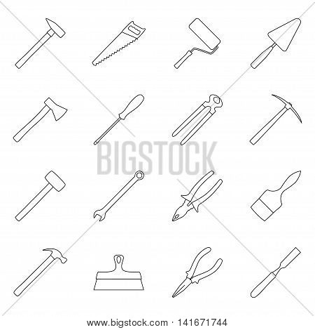 Set of construction tools, collection of tool icons, vector illustration
