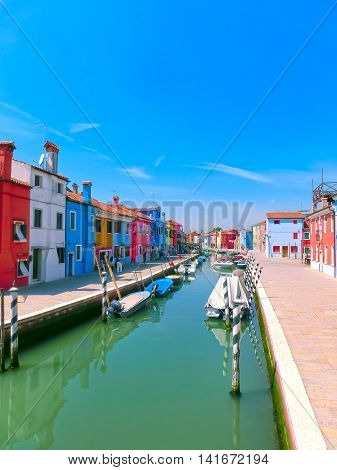 The colorful old houses in Burano, an island in the Venetian Lagoon, Italy