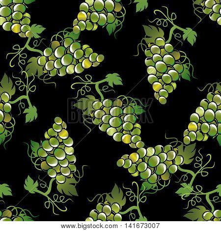 Green volumetric grapes with green leaves on the black background. Vector illustration. Vector seamless pattern with green grapes.Luxury ornate 3d decor elements with shadow and highlights