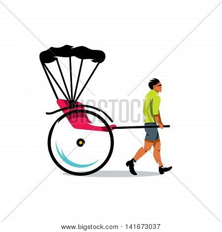 Hand pulled rickshaw and cart with a woman. Isolated on a white background