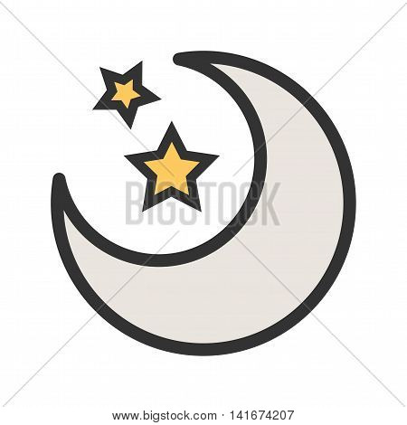 Sky, moon, night icon vector image.Can also be used for astronomy. Suitable for use on web apps, mobile apps and print media.
