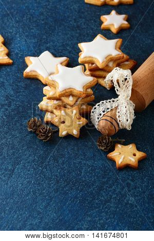 Christmas Cookies In The Shape Of Star And Rolling Pin
