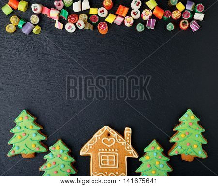 Christmas Cookies In The Shape Of House And New Year Tree, Mixed Candy