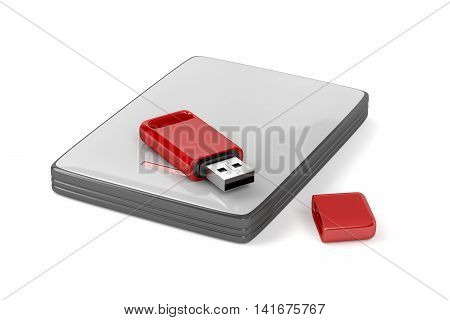Usb stick and external hard drive on white background, 3D illustration