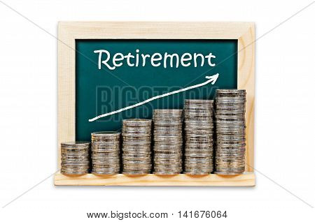 Money graph on chalkboard with retirement plan isolated on white background Saved cliping path.