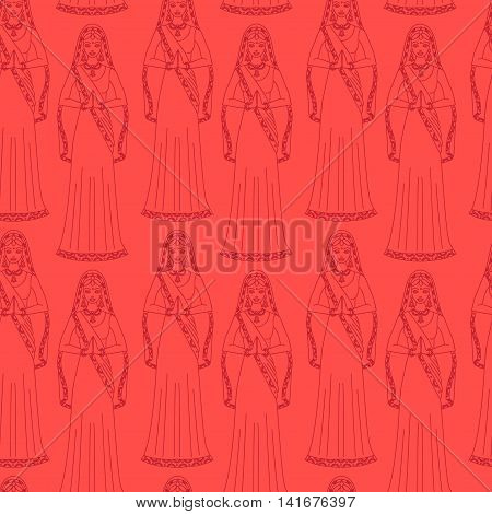 South Asia beautiful woman wearing indian traditional cloth, hinduism costume, girl in sari seamless pattern outline