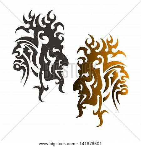 Devil's head ornament stylized tattoo profile silhouette