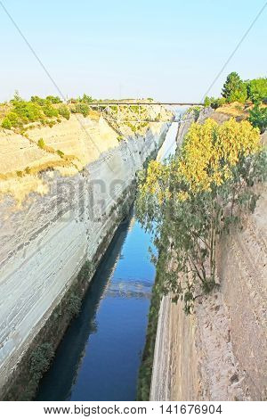 Nice view of famous The Corinth Canal in Greece