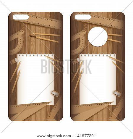 Phone case. Paper and pencil, ruler, eraser, sharpener on lath boards.