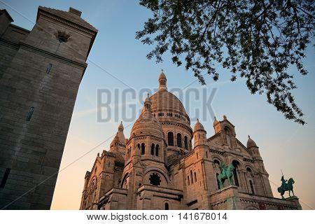Sacre Coeur Cathedral closeup in Paris, France.