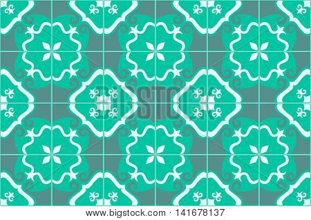 Traditional decorative ornate portuguese and brazilian tiles azulejos in aquamarine. Spanish talavera tiles. Vintage pattern. Abstract background. Vector illustration, eps10.